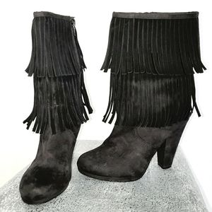 H&M Black Suede Double Fringed Side Zip Bo…